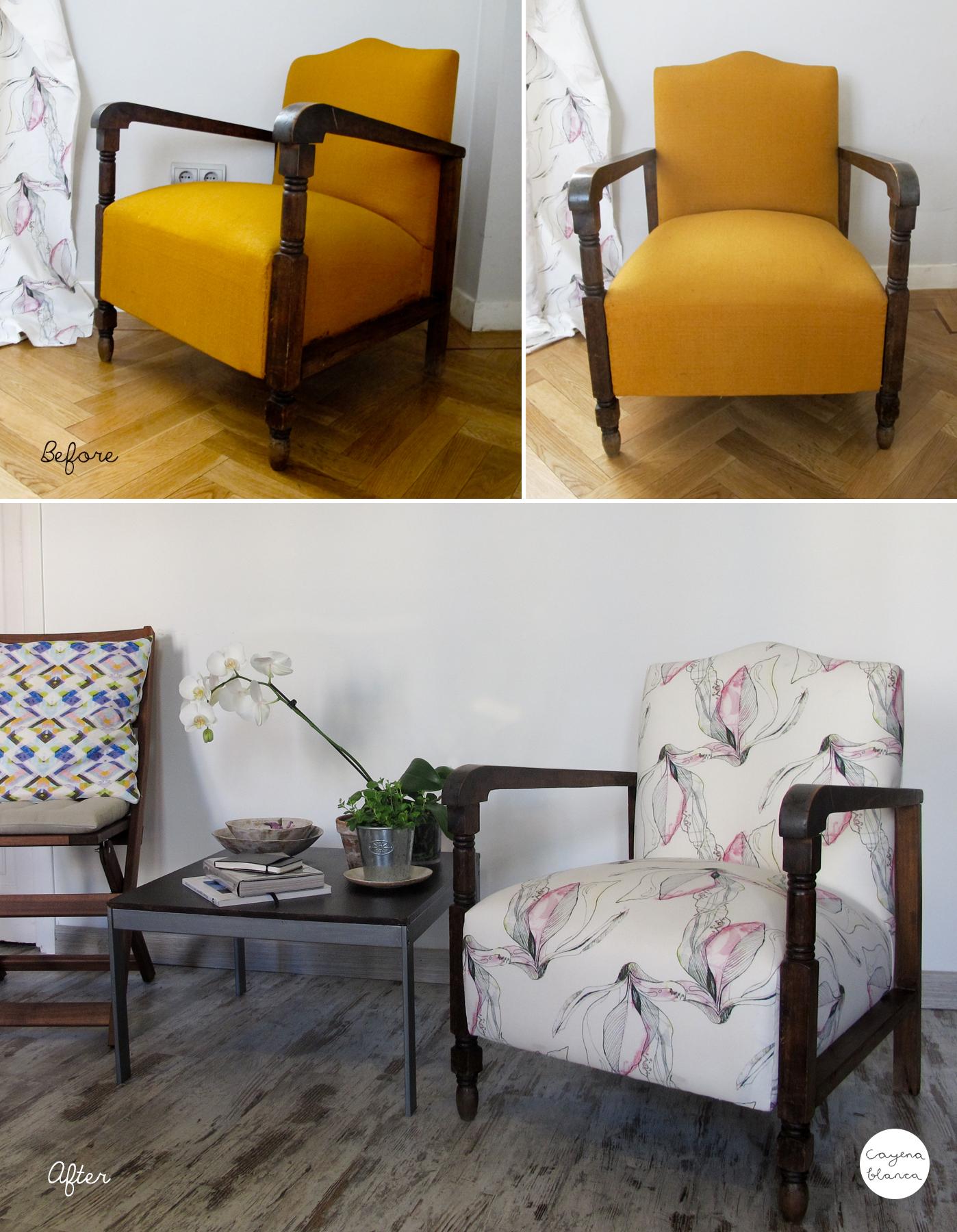 El antes y el despu s de unos sillones tapizados con mis - Sillones tapizados en tela ...